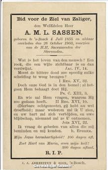 bidprentje Albertus Maria Leonardus Sassen (tekst)
