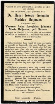 bidprentje Dr. Henri Joseph Germain Mathieu Heijmans (tekst)