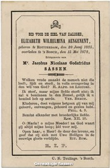 bidprentje Elizabeth Wilhelmina Aengenent (tekst)