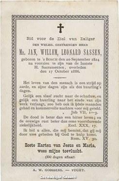 bidprentje mr. Johannes Wilhelmus Leonardus Sassen (tekst)