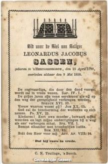 bidprentje mr. Leonardus Jacobus Sassen (tekst)