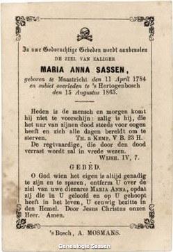 bidprentje Maria Anna Sassen (tekst)