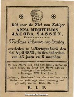 bidprentje Anna Mechtildis Jacoba Sassen (tekst)