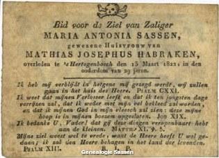 bidprentje Maria Antonis Sassen (tekst)