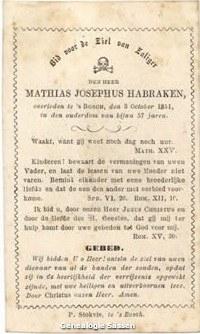 bidprentje Mathias Josephus Habraken (tekst)