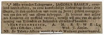 overlijdensannonce Jacobus Sassen
