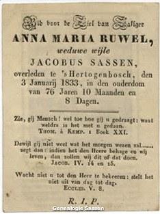 bidprentje Anna Maria Ruwel (tekst)