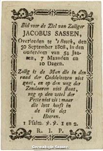 bidprentje Jacobus Sassen (tekst)