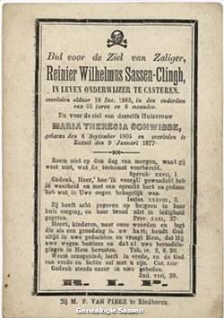 bidprentje Regnerus Wilhelmus Sassen Clingh (tekst)