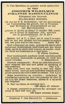 bidprentje Josephus Wilhelmus Johannes Sassen Clingh (tekst)