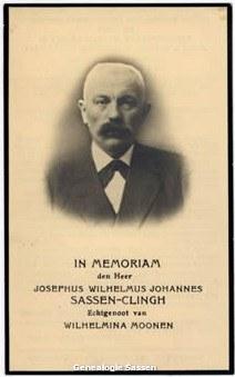 bidprentje Josephus Wilhelmus Johannes Sassen Clingh (afbeelding)
