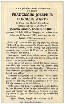 bidprentje Franciscus Josephus Cornelis Aarts (tekst)