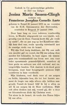 bidprentje Josina Maria Sassen Clingh (tekst)