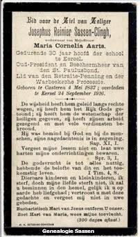 bidprentje Josephus Regnerus Sassen-Clingh (tekst)