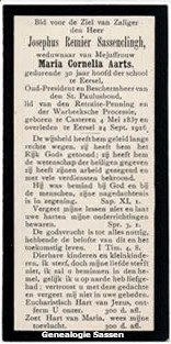 bidprentje Josephus Regnerus Sassenclingh (tekst)
