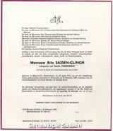 overlijdensannonce Margaretha Helena Johanna Sassen Clingh