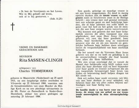 bidprentje Margaretha Helena Johanna Sassen Clingh (tekst)