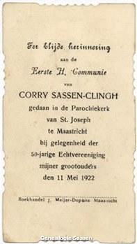 communieprentje Cornelia Theresia Johanna Sassen Clingh (tekst)