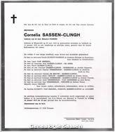 overlijdensannonce Cornelia Theresia Johanna Sassen Clingh