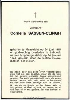 bidprentje Cornelia Theresia Johanna Sassen Clingh (tekst)