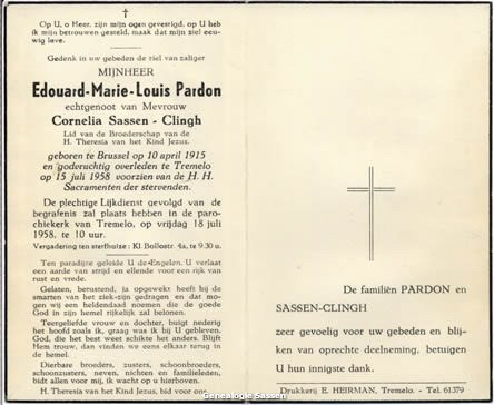 bidprentje Edouard Marie Louis Pardon (tekst)