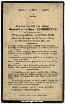 bidprentje Anna Catharina Schneiders (tekst)
