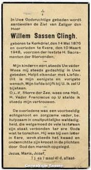 bidprentje Wilhelmus Reinier Sassen Clingh (tekst)