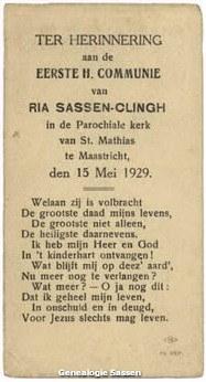 communieprentje Maria Johanna Josephina Odilia Sassen Clingh (tekst)