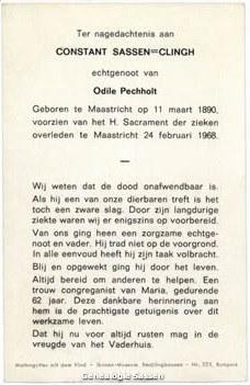 bidprentje Constant Mathieu Sassen Clingh (tekst)