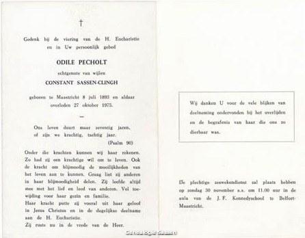 bidprentje Augustina Elisa Hubertine Odile Pechholt (tekst)