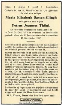 bidprentje Maria Elisabeth Sassen Clingh (tekst)
