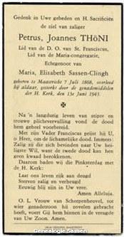 bidprentje Petrus Joannes Thöni (tekst)
