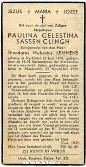 bidprentje Pauline Célestine Sassen Clingh (tekst)