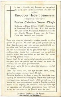 bidprentje Theodoor Hubert Lemmens (tekst)