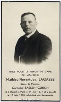 bidprentje Mathieu Florent Joseph Lagasse (foto)