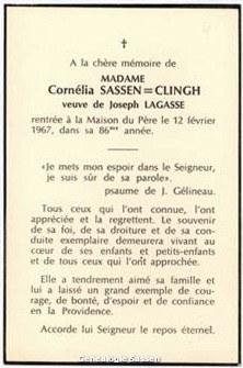 bidprentje Theresia Cornelia Sassen Clingh (tekst)