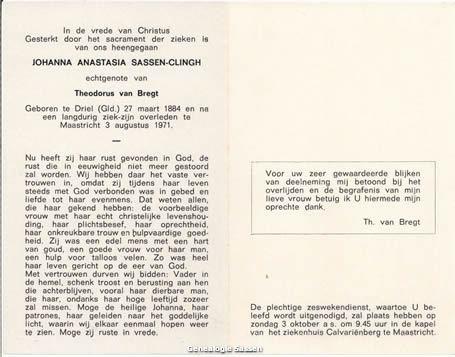 bidprentje Johanna Anastasia Sassen Clingh (tekst)