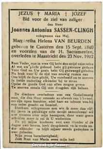 bidprentje Johannes Antonius Sassen Clingh (tekst)