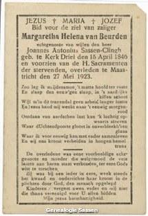bidprentje Magritha Helena van Beurden (tekst)