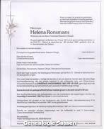 overlijdensannonce Alena Melania Ronsmans