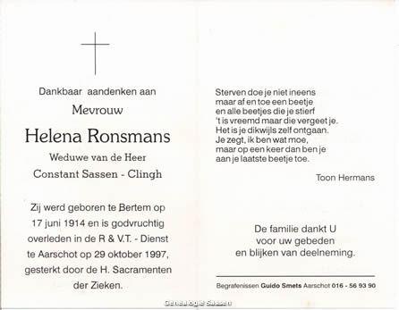bidprentje Alena Melania Ronsmans (tekst)