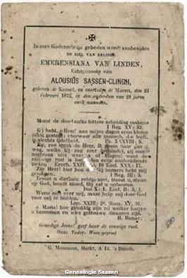 bidprentje Emerentia van Linden (tekst)